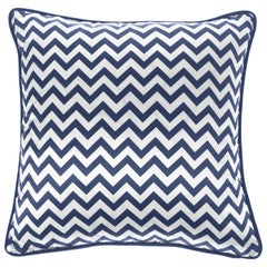 Gianfranco Ferré Home Chevron Medium Blue Cushion in Silk and Velvet