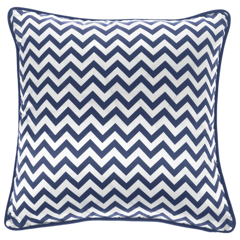 Gianfranco Ferré Chevron Medium Blue Cushion in Silk and Velvet For Sale