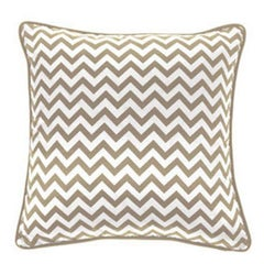 Gianfranco Ferré Chevron Medium Pillow in Beige & White Stripes in Silk & Velvet