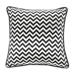 Gianfranco Ferré Chevron Medium Pillow in Black & White Stripes in Silk & Velvet