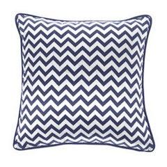 Gianfranco Ferré Chevron Medium Pillow in Blue & White Stripes in Silk & Velvet