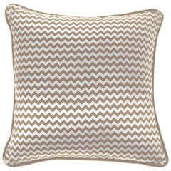 Gianfranco Ferré Home Chevron Small Beige Cushion in Silk and Velvet