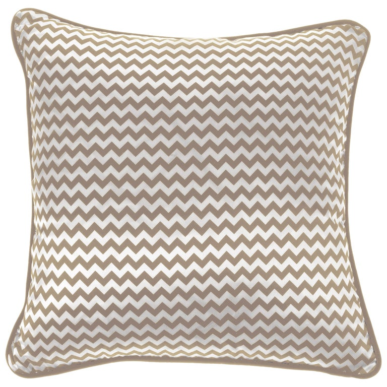 Gianfranco Ferré Chevron Small Beige Cushion in Silk and Velvet For Sale
