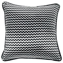 Gianfranco Ferré Chevron Small Black Cushion in Silk and Velvet