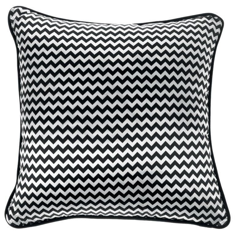 Gianfranco Ferré Chevron Small Black Cushion in Silk and Velvet For Sale