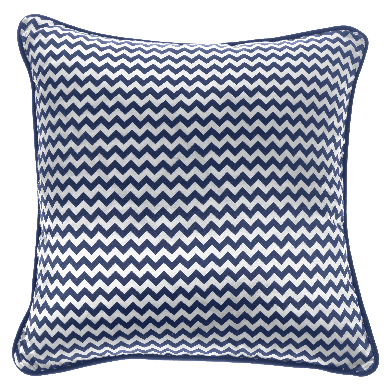 Gianfranco Ferré Home Chevron Small Blue Cushion in Silk and Velvet