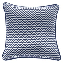 Gianfranco Ferré Home Chevron Small Blue Cushion in Silk and Velvet