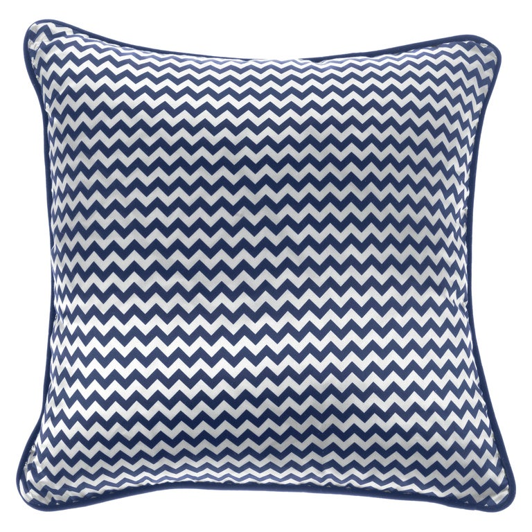 Gianfranco Ferré Chevron Small Blue Cushion in Silk and Velvet For Sale