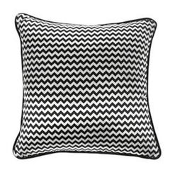 Gianfranco Ferré Chevron Small Pillow in Black & White Stripes in Silk & Velvet