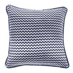 Gianfranco Ferré Chevron Small PIllow in Blue & White Stripes in Silk & Velvet
