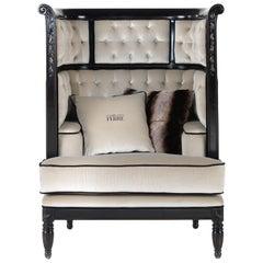 Gianfranco Ferré Club Armchair in Dark Beige Cotton Upholstery