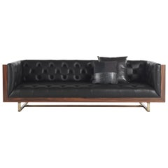 Gianfranco Ferré Home Colin Sofa in Rosewood and Leather