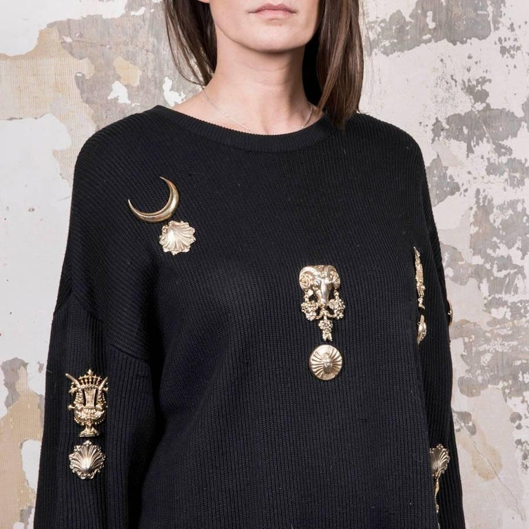 Women's Gianfranco Ferre Collector Oversized Black Sweater With Jewelry   For Sale