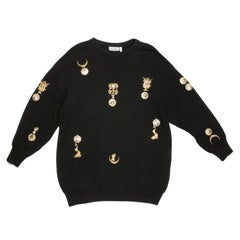 Gianfranco Ferre Collector Oversized Black Sweater With Jewelry