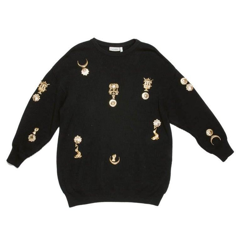 Gianfranco Ferre Collector Oversized Black Sweater With Jewelry   For Sale