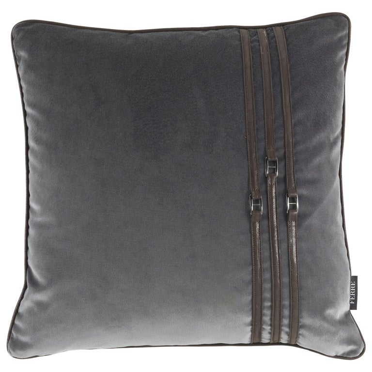 Gianfranco Ferré Coney Cushion in Fabric and Leather For Sale