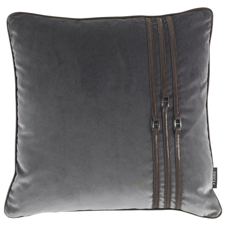 Gianfranco Ferre Coney Cushion in Fabric and Leather For Sale