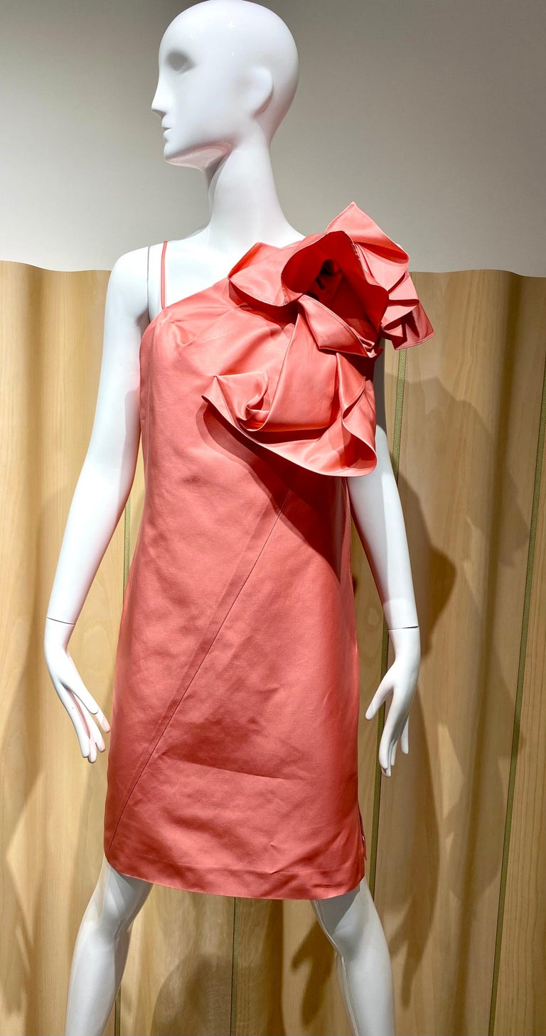 """2000s Gianfranco Ferre Coral  cocktail dress with large rosette. Size : Medium- Large Bust: 42""""/ Waist: 39""""/ Hip"""" 39""""/ Dress length: 36"""""""