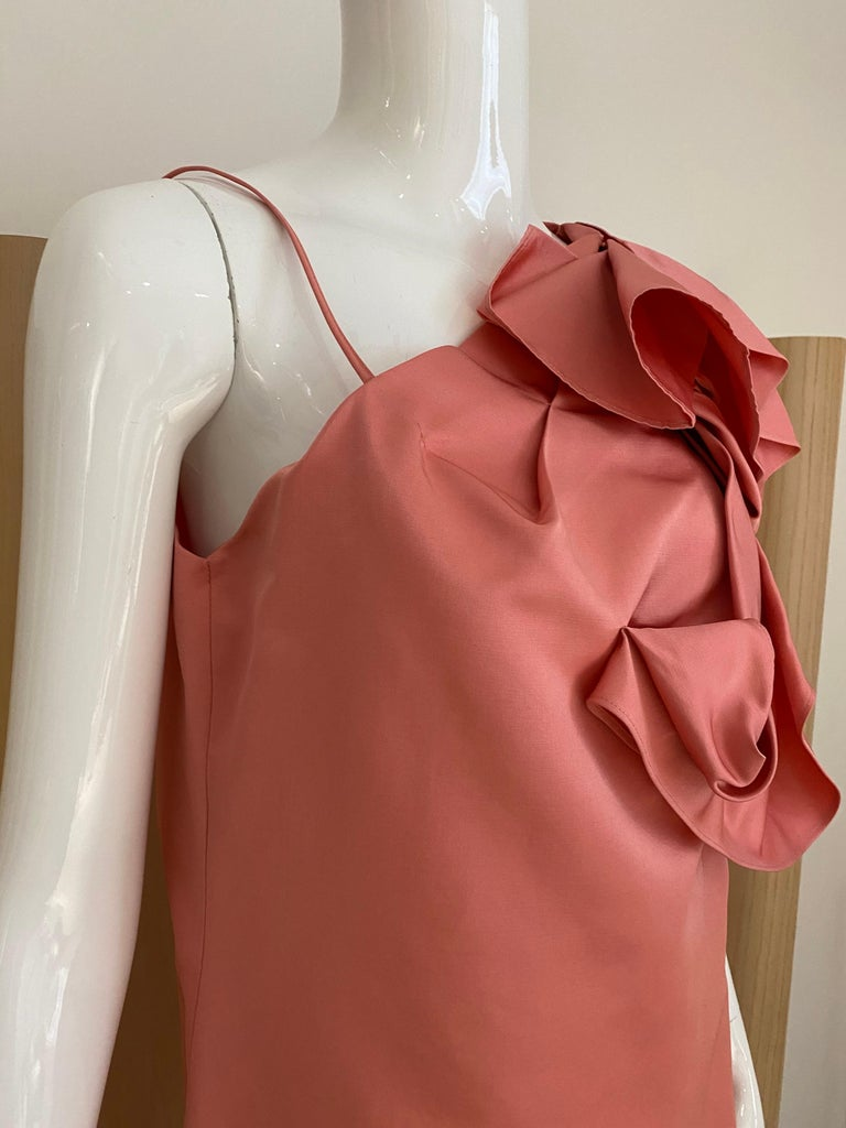 Pink Gianfranco Ferre Coral silk cocktail Dress For Sale