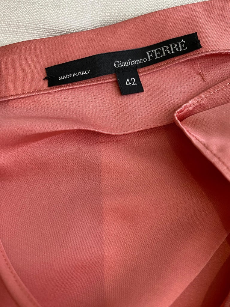 Gianfranco Ferre Coral silk cocktail Dress For Sale 1