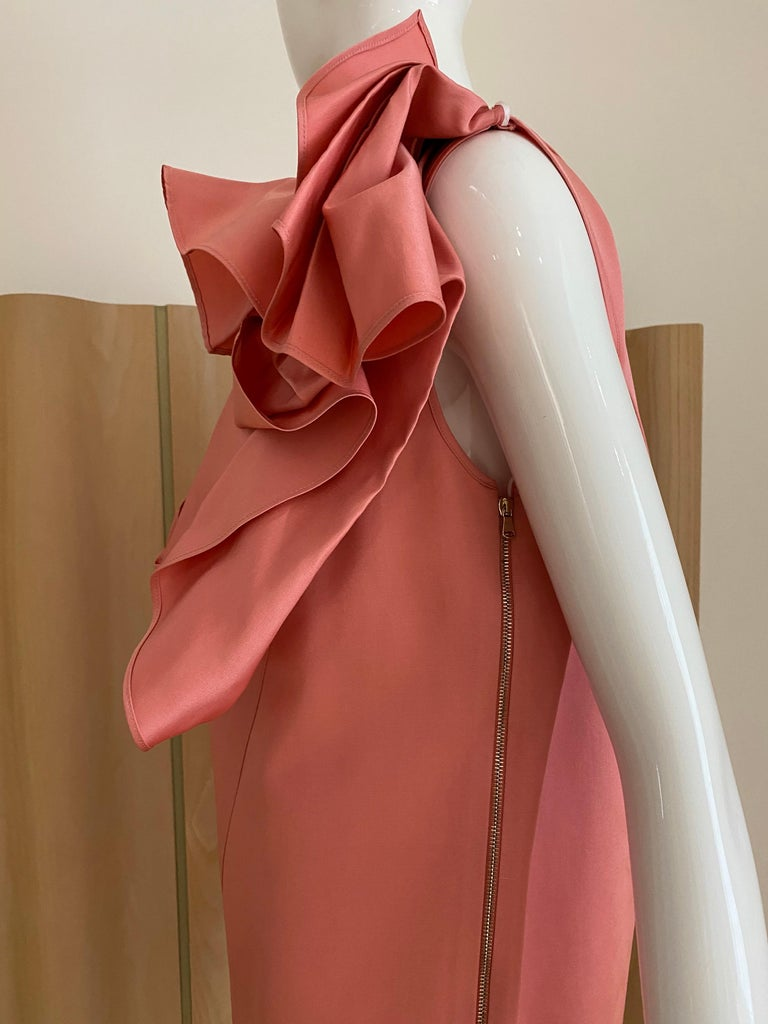 Gianfranco Ferre Coral silk cocktail Dress For Sale 2