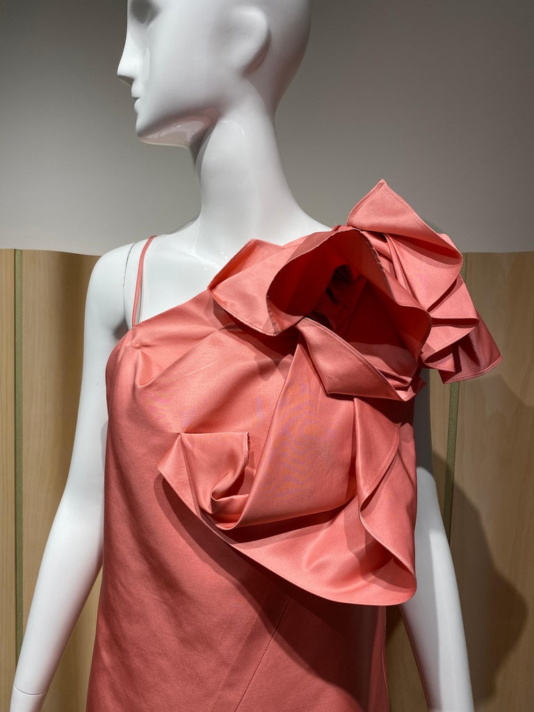 Gianfranco Ferre Coral silk cocktail Dress For Sale 3