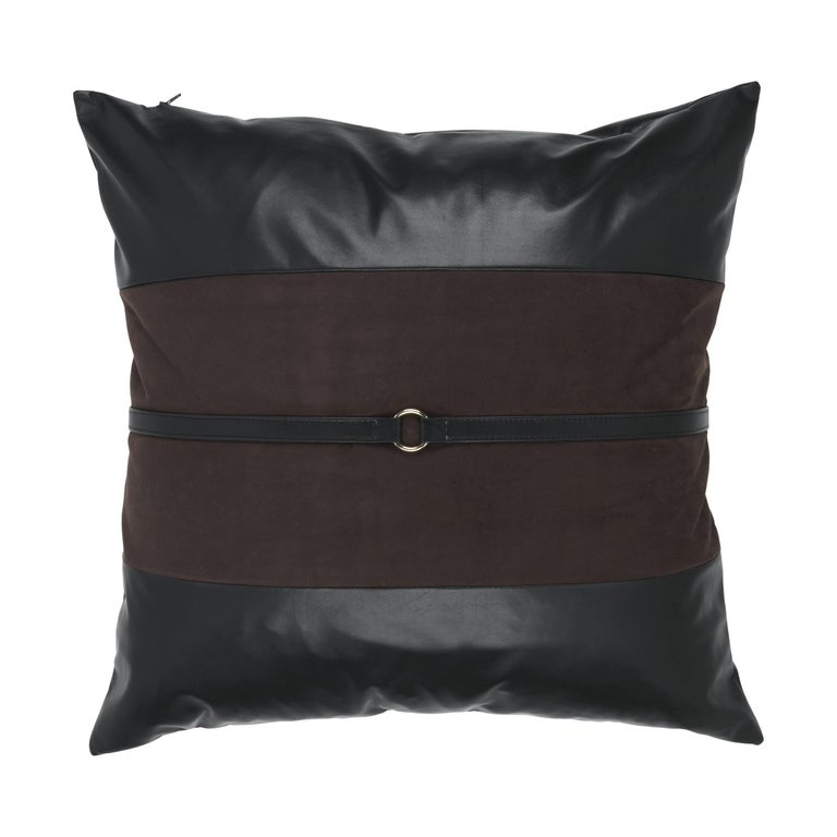 Gianfranco Ferré Coreen Dark Brown Cushion in Suede and Leather For Sale