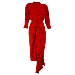 "Gianfranco FERRÉ ""New"" Haute Couture Red Silk Dress with Skirt Foulard - Unworn"