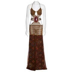Gianfranco Ferre crochet maxi dress with jewelled silk skirt, ss 2004