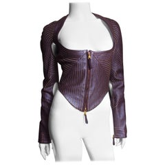 Gianfranco Ferre New Cut out Leather Jacket