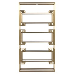 Gianfranco Ferre Dalston Bookcase in Brass and Glass
