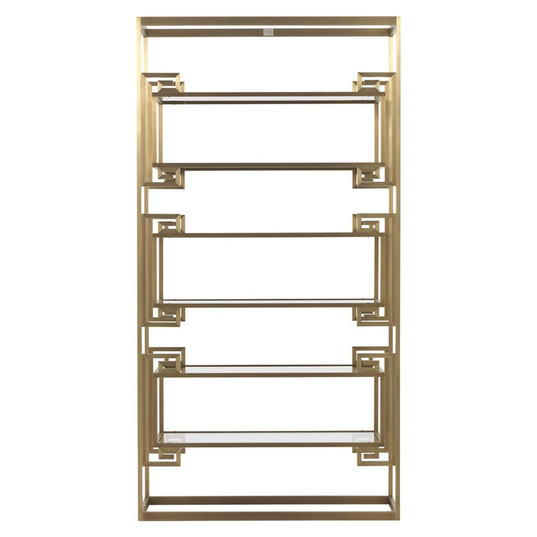 Gianfranco Ferre Dalston Bookcase in Brass and Glass For Sale