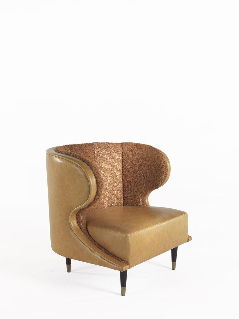 Italian Gianfranco Ferré Dunlop Armchair in Bronze Boucle Wool Upholstery For Sale
