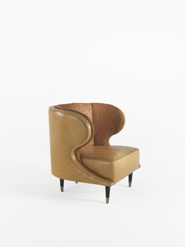 Gianfranco Ferré Dunlop Armchair in Bronze Boucle Wool Upholstery In New Condition For Sale In Cantu, IT