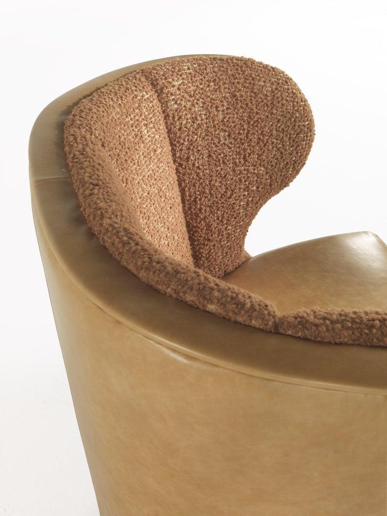 Foam Gianfranco Ferré Dunlop Armchair in Bronze Boucle Wool Upholstery For Sale