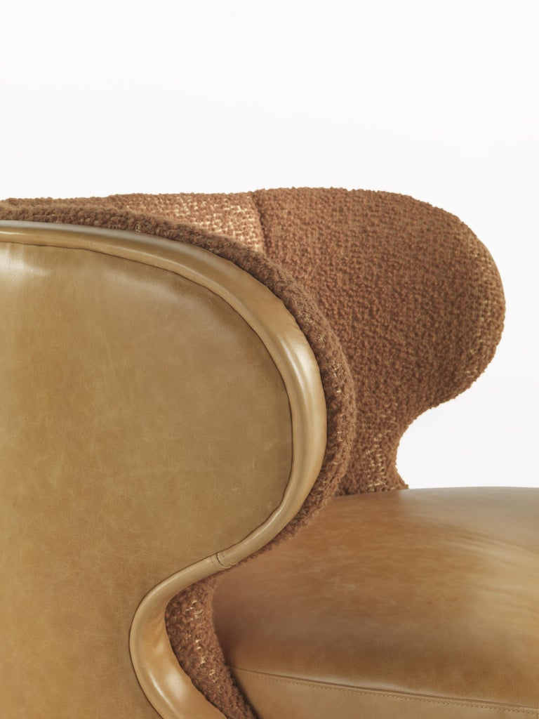 Gianfranco Ferré Dunlop Armchair in Bronze Boucle Wool Upholstery For Sale 1