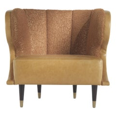 Gianfranco Ferré Home Dunlop Armchair in Bronze Boucle Wool fabric