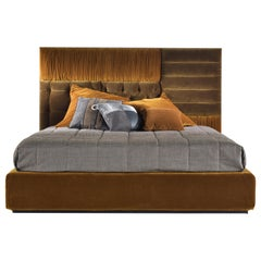 Gianfranco Ferré Elliot Bed in Wood with Fabric Upholstery