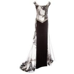 Gianfranco Ferre embroidered tulle and velvet evening dress, fw 1998