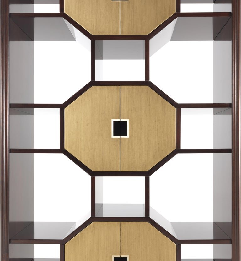 Modern Gianfranco Ferré Eva_2 Bookcase in Beechwood with Mahogany Finish For Sale