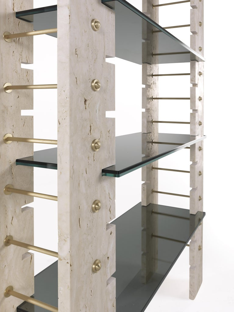 Italian Gianfranco Ferré Fitzroy Bookcase in Marble and Glass For Sale