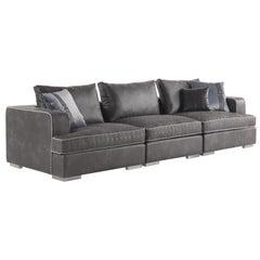 Gianfranco Ferré Flair Sofa in Black Technical Fabric Upholstery
