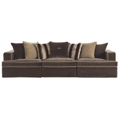 Gianfranco Ferré Flair Sofa in Embroidered Brown & Cotton Upholstery