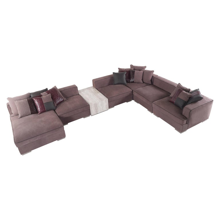 Flair Sofa In Mauve Leather Upholstery