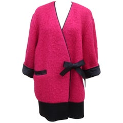 Gianfranco Ferre for Baila Hot Pink Mohair Kimono Style Coat