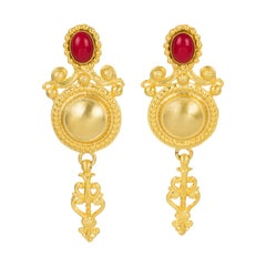 Gianfranco Ferre Gilt Metal Baroque Clip Earrings with Red Cabochon
