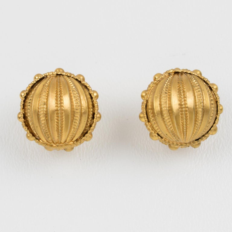 Baroque Revival Gianfranco Ferre Gilt Metal Button Clip Earrings For Sale