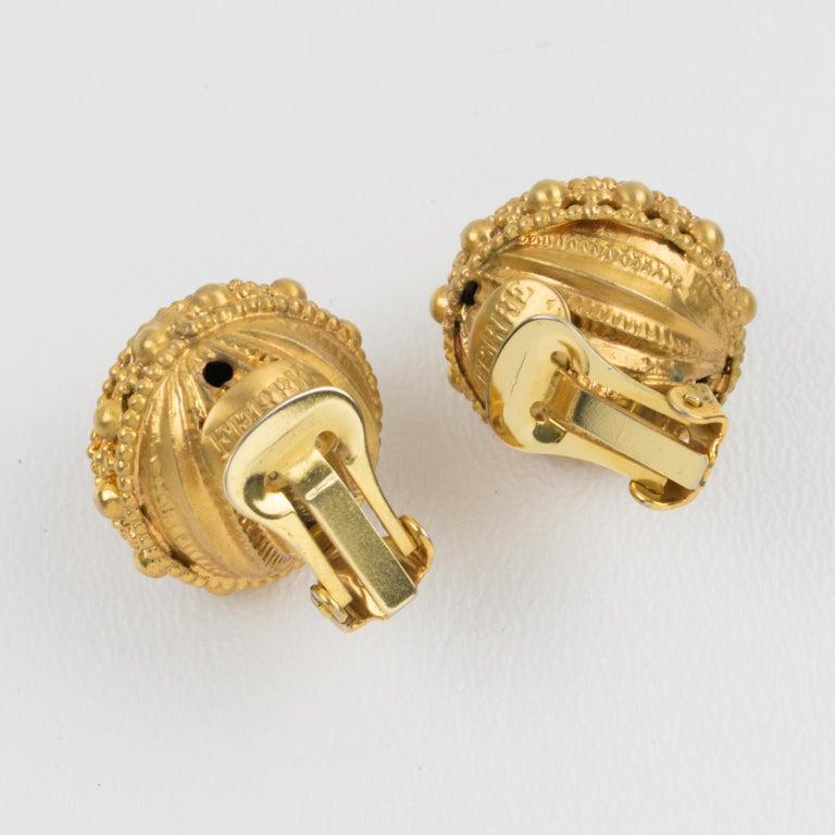 Gianfranco Ferre Gilt Metal Button Clip Earrings In Excellent Condition For Sale In Atlanta, GA