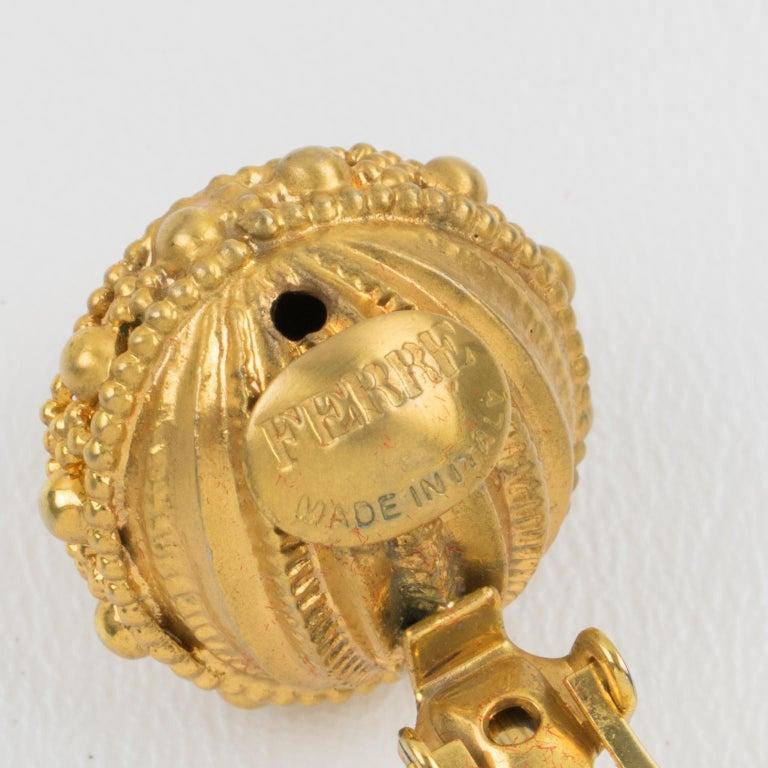 Women's or Men's Gianfranco Ferre Gilt Metal Button Clip Earrings For Sale