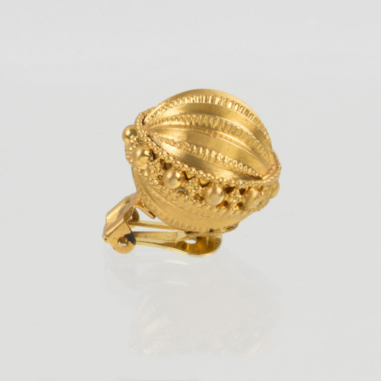 Gianfranco Ferre Gilt Metal Button Clip Earrings For Sale 1